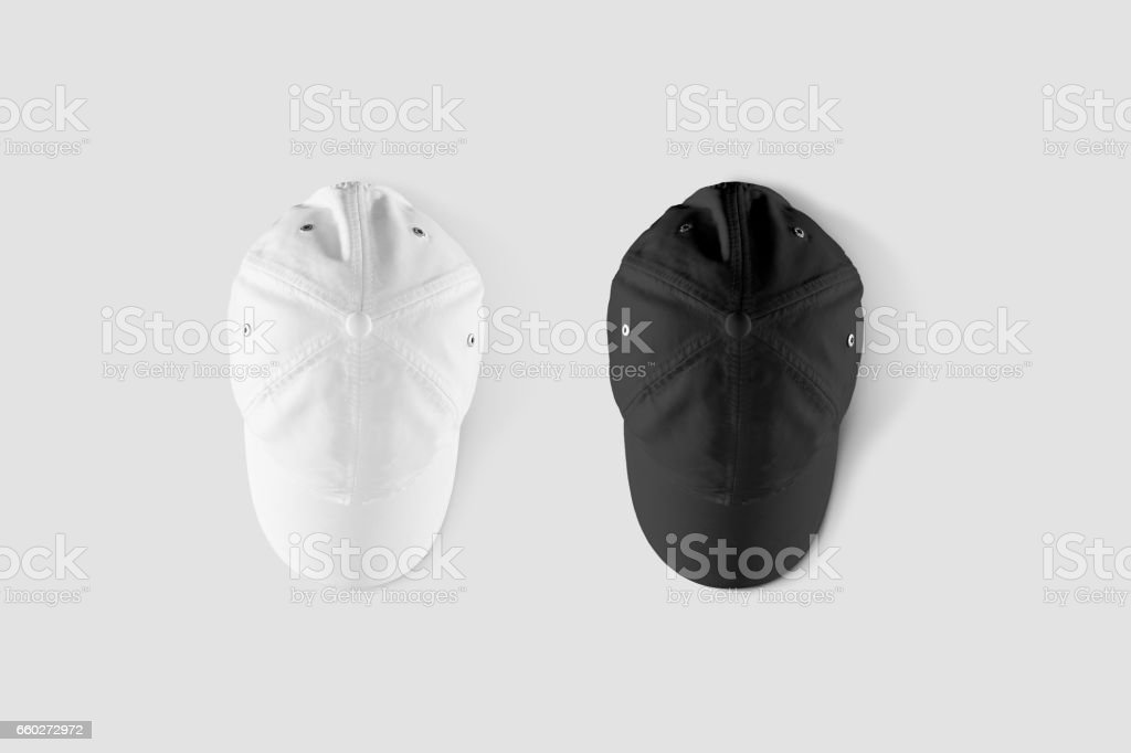 Blank black and white baseball cap mockup set, top side view stock photo
