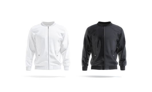 Blank black and white bomber jacket mock up, front view, 3d rendering. Empty sport jacket or casual sweater with zip mockup, isolated. Clear satin windcheater with long sleeve template.