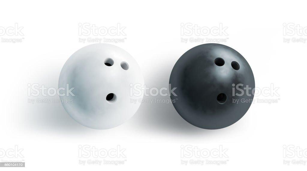 En blanco y negro bola de boliche imitan para arriba, la vista superior - foto de stock