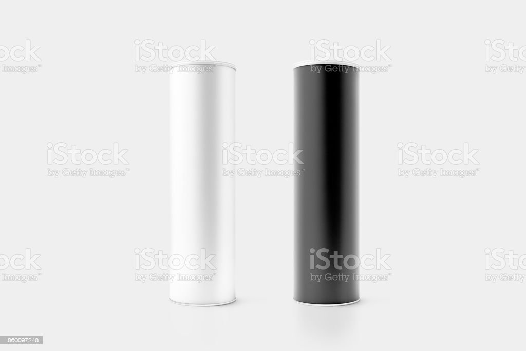Blank black and white cardboard cylinder box mockup stock photo