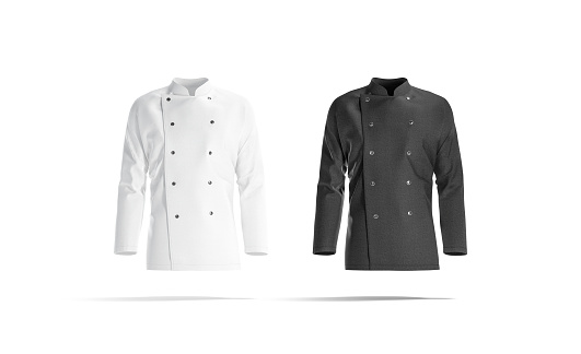 Blank black and white chef jacket mockup set, front view, 3d rendering. Empty cotton master protect overcoat mock up , isolated. Clear service or chief clothe barathea mokcup template.