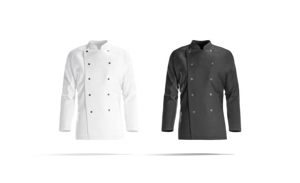 Blank black and white chef jacket mockup set, front view stock photo