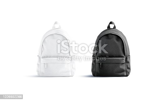 Blank black and white closed backpack with zipper mockup set, isolated, 3d rendering. Empty carry schoolbag or handbag mock up, front view. Clear sack case for travel luggage mokcup template.
