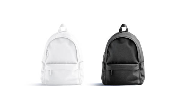 Blank black and white closed backpack with zipper mockup, isolated stock photo