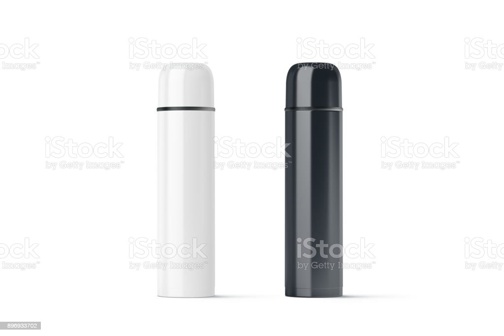 Blanc noir et blanc fermé voyage thermos mock up - Photo