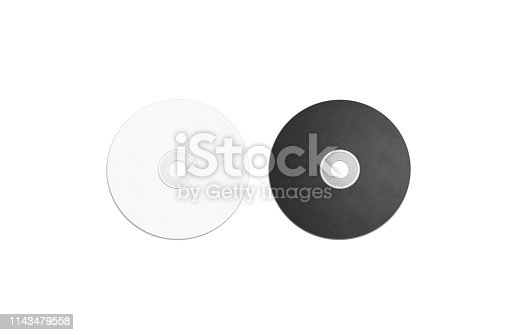 Blank black and white compact disk mockup set, isolated, 3d rendering. Empty multimedia player mock up, top view. Clear cd or dvd disc for storage template.