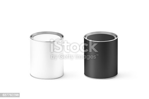 istock Blank black and white cylinder tincan mockup, isolated 637762298