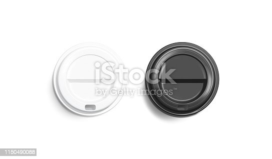 istock Blank black and white disposable coffee cup lid mockup 1150490088