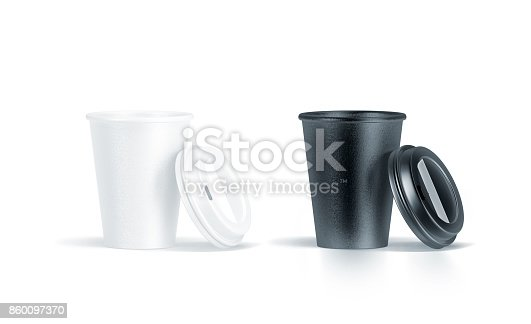 istock Blank black and white disposable paper cup opened plastic lid 860097370