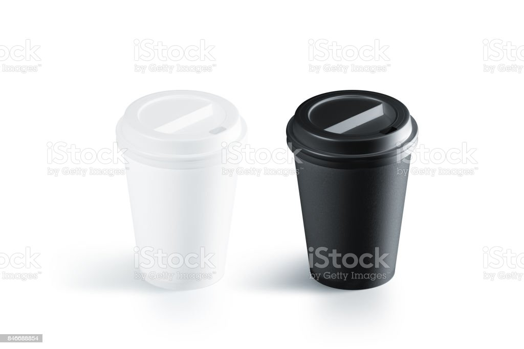 Blank black and white disposable paper cup stock photo
