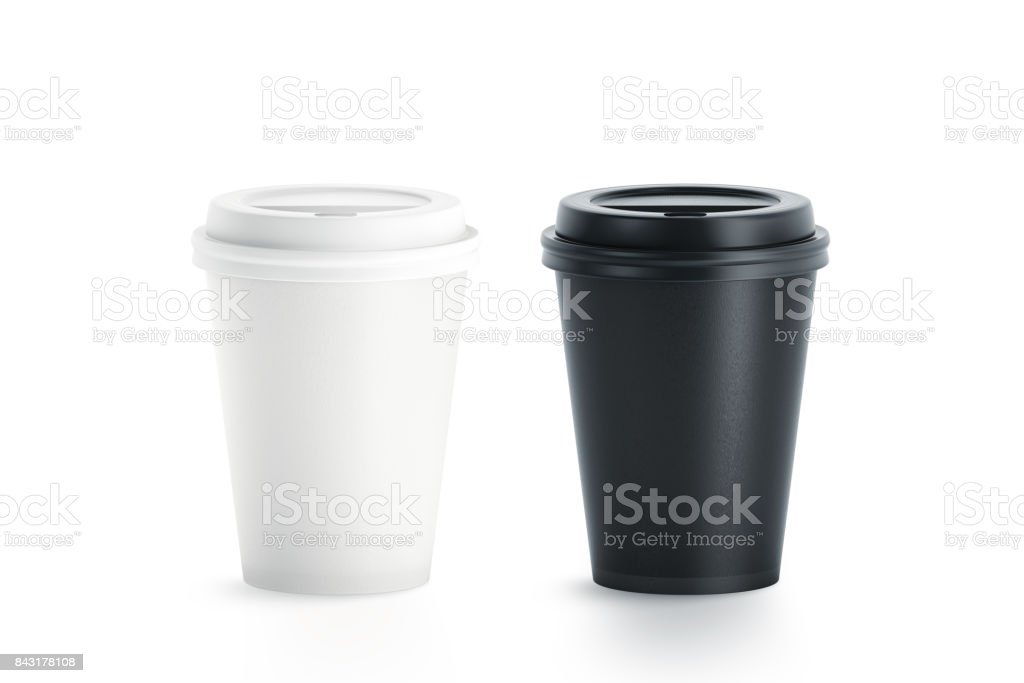 Blank black and white disposable paper cup with plastic lid royalty-free stock photo