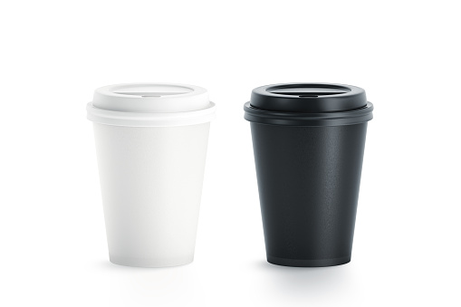Blank black and white disposable paper cup with plastic lid