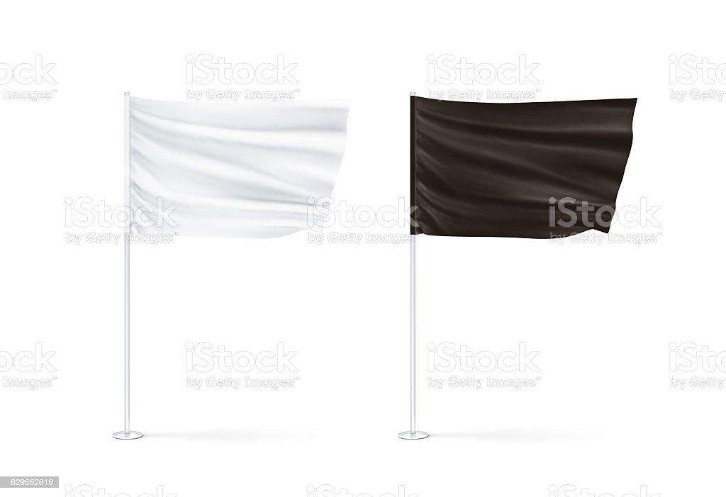 Blank black and white flag mockup set, waving stock photo