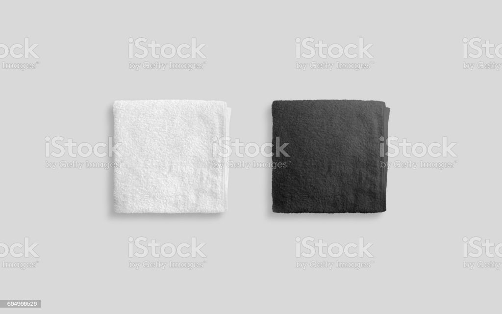 Blank black and white folded soft beach towel mockup - foto stock