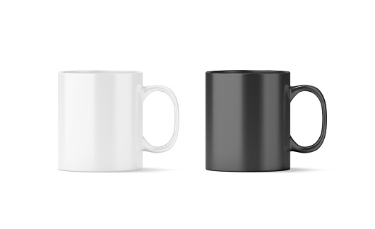Blank black and white glass mug mockup isolated, 3d rendering. Clear 11 oz coffee cup mock up for sublimation printing. Empty gift pint set branding template. Glassy restaurant tankard design.