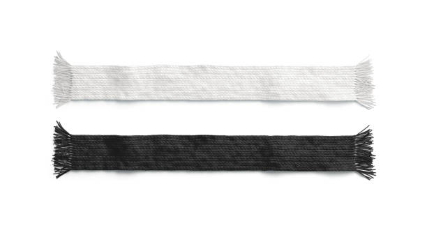 Blank black and white knitted scarf mockup set, isolated Blank black and white knitted scarf mockup set, isolated, 3d rendering. Empty textile accessory mock up, top view. Clear casual garment for christmas or soccer template. headscarf stock pictures, royalty-free photos & images
