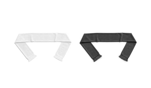 Blank black and white knitted soccer scarf mockup, top view stock photo