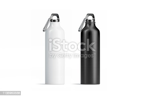 1129148925istockphoto Blank black and white metal sport bottle mockup set, isolated, 1135950338