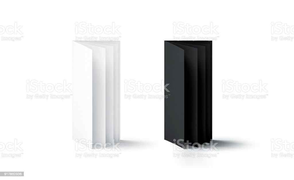 Blank black and white multi-page booklet stand mock up stock photo