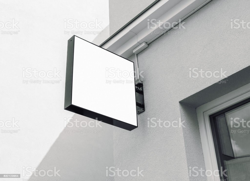 Blank black and white outdoor company sign stock photo