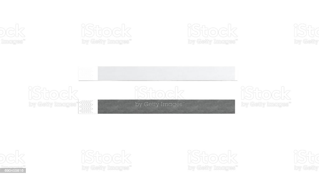 Blank black and white paper wristband mock up stock photo