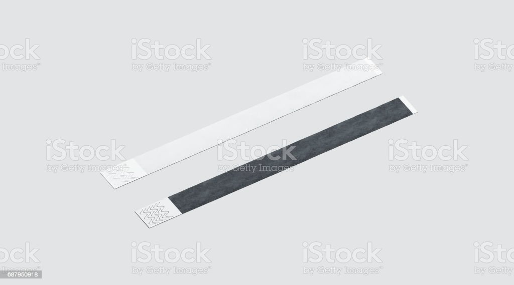 Blank black and white paper wristband mockup stock photo