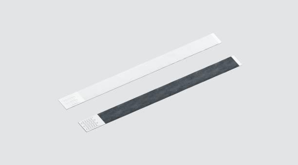 blank black and white paper wristband mockup - браслет стоковые фото и изображения