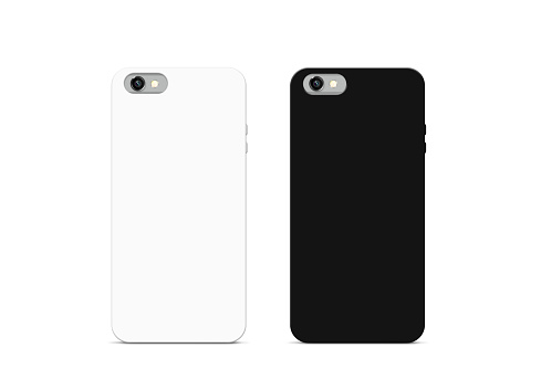 Blank black and white phone case mock up, isolated
