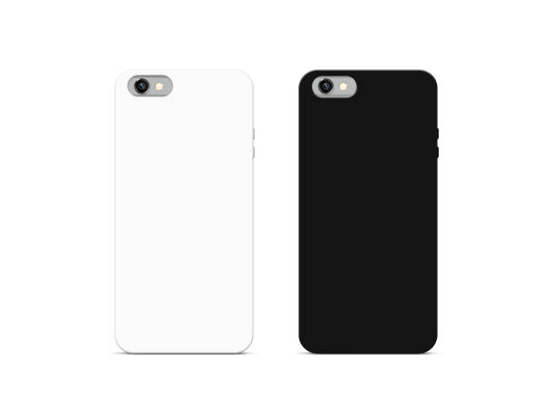Blank black and white phone case mock up, isolated Blank black and white phone case mock up, isolated, 3d illustration. Empty smartphone cover mockups set ready for logo, texture print presentation. Cellphone protector cover design concept. covering stock pictures, royalty-free photos & images