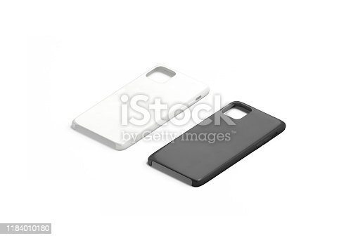 Blank black and white phone case mock up set, isolated, 3d rendering. Empty accessories slipcover mockup, side view. Clear wrapper protection for new smartphone mokcup template.