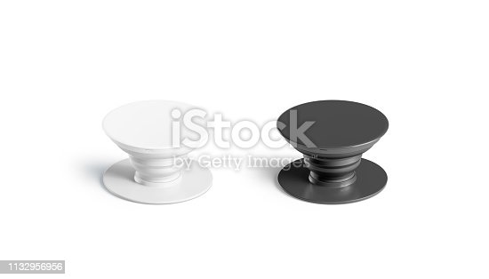 Blank black and white phone phone grip mockup set, isolated, 3d rendering. Empty glue accessory mock up. Clear sticky pad for smartphone. Circle rubberized phone grip template.
