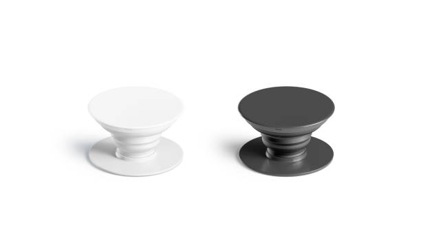 Blank black and white phone phone grip mockup set, isolated Blank black and white phone phone grip mockup set, isolated, 3d rendering. Empty glue accessory mock up. Clear sticky pad for smartphone. Circle rubberized phone grip template. electrical outlet stock pictures, royalty-free photos & images