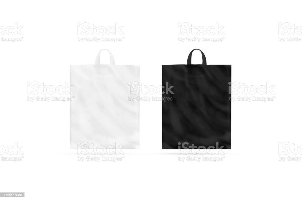 Leere schwarze und weiße Plastiktüte mit Griff Modell isoliert – Foto