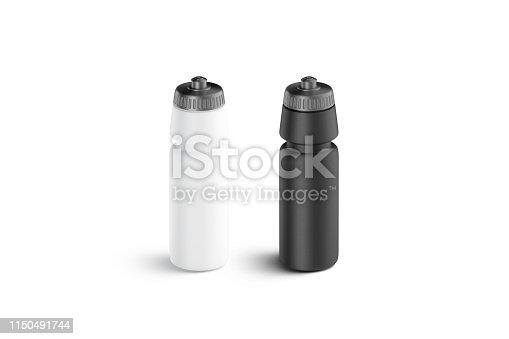 1129148925 istock photo Blank black and white plastic sport bottle mock up 1150491744