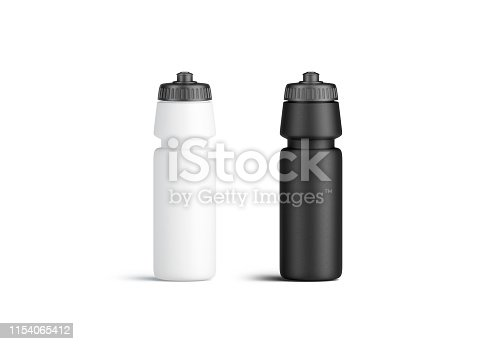 1129148925istockphoto Blank black and white plastic sport bottle mockup, front view 1154065412