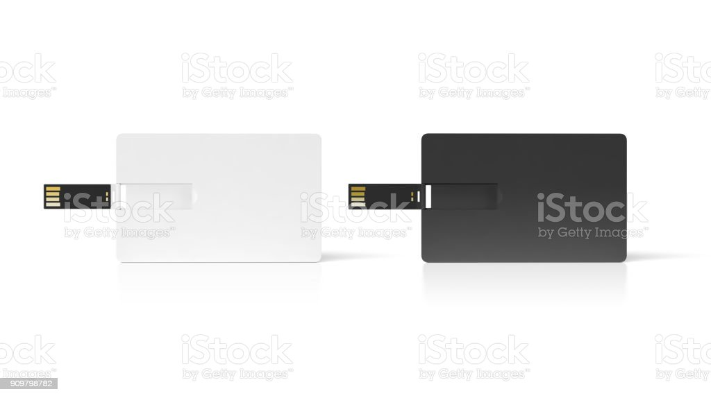 Blank black and white plastic wafer usb card mock up stock photo