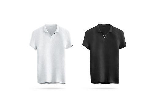 Blank black and white polo shirt mock up isolated, front view, 3d rendering. Empty sport t-shirt uniform mockup. Plain clothing design template. Cotton clear dress with short sleeves for branding.