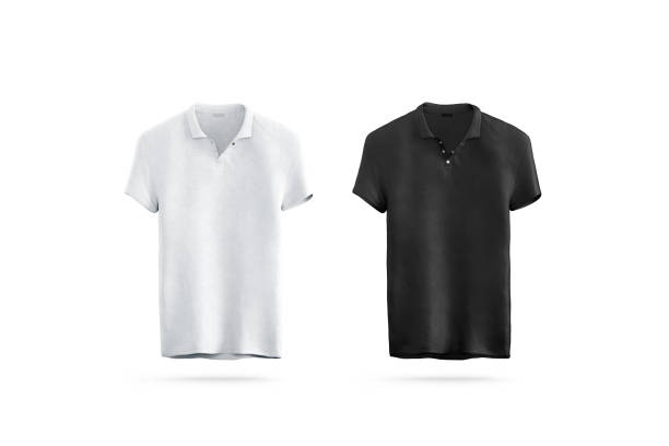 Blank black and white polo shirt mock up isolated, front view stock photo