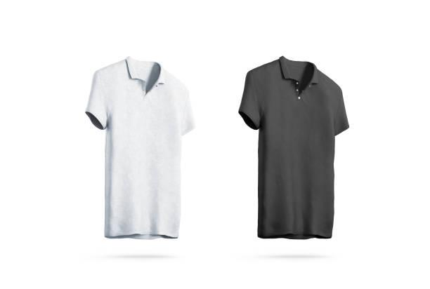 Blank black and white polo shirt mockup isolated stock photo