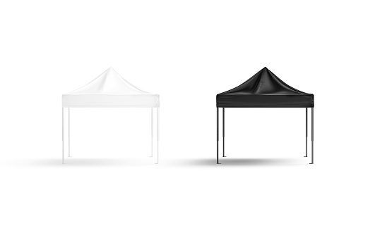 Blank black and white pop-up canopy tent mock up set, isolated, 3d rendering. Empty exhibition pavilion mockup, front view. Clear mobile sunshade for fair or expo presentation mokcup template.