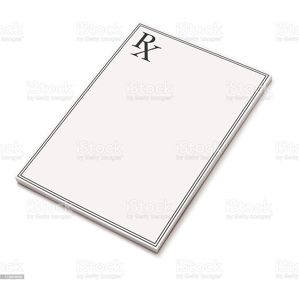 Blank black and white prescription pad stock photo