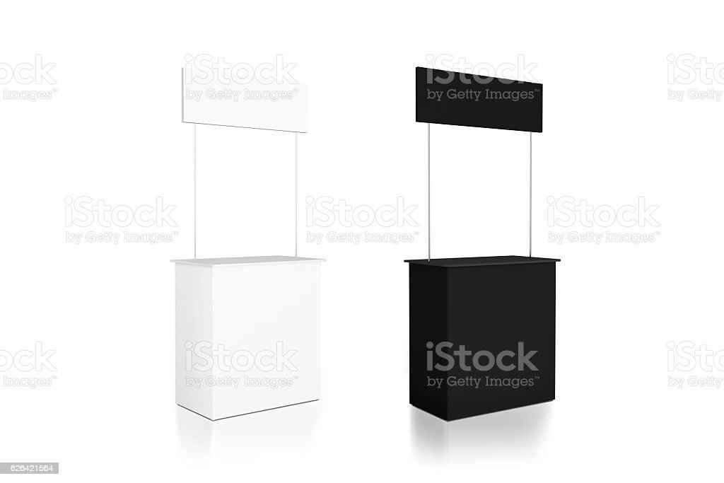 Blank black and white promo counter mockup stand, side view stock photo
