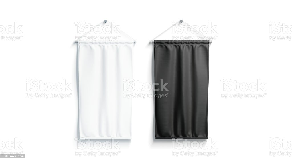 Blank black and white rectangle pennant mock up, isolated stock photo