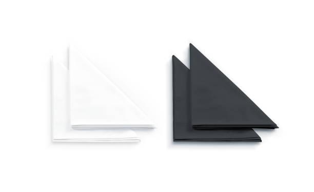 blank svart och restaurang servett mock up, isolerade - servett bildbanksfoton och bilder