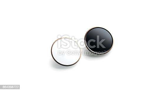 istock Blank black and white round gold lapel badge mock up 854368722
