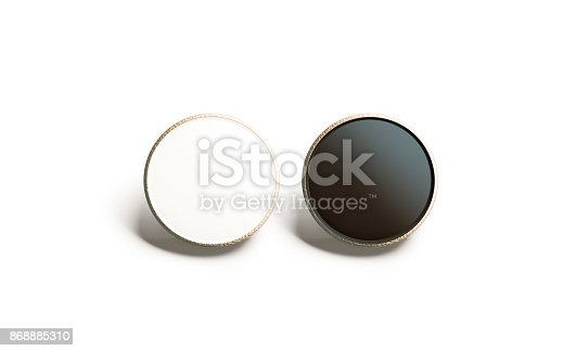 istock Blank black and white round gold lapel badge mock up 868885310
