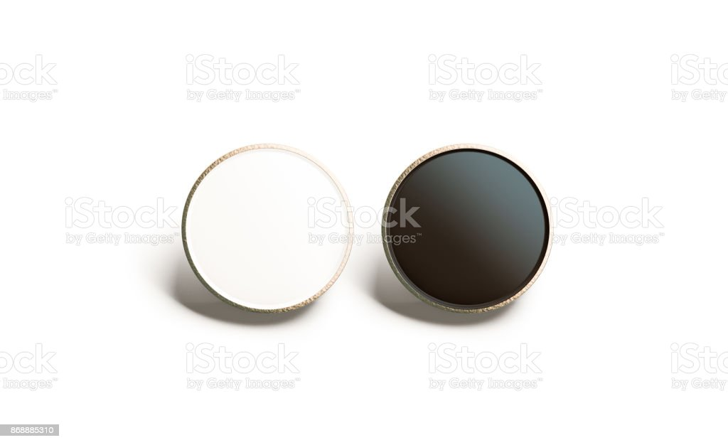 Blank black and white round gold lapel badge mock up stock photo