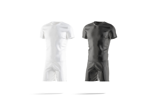 Blank black and white soccer uniform with t-shirt short mockup