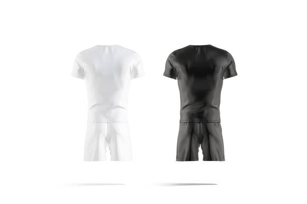 Blank black and white soccer uniform with t-shirt short mockup stock photo