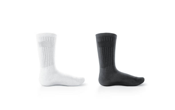 Blank black and white socks design mockup, isolated, clipping path stock photo